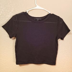 Forever 21 ribbed stretchy black crop top